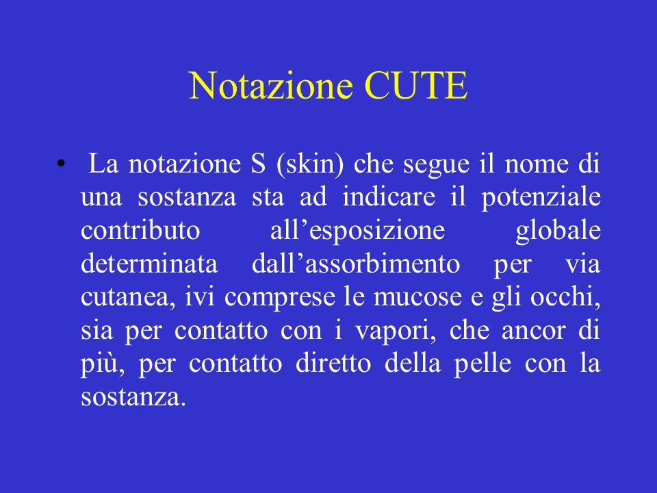 Notazione CUTE La notazione S (skin) che segue il nome di una sostanza sta ad indicare il potenziale contributo all'esposizione globale determinata da