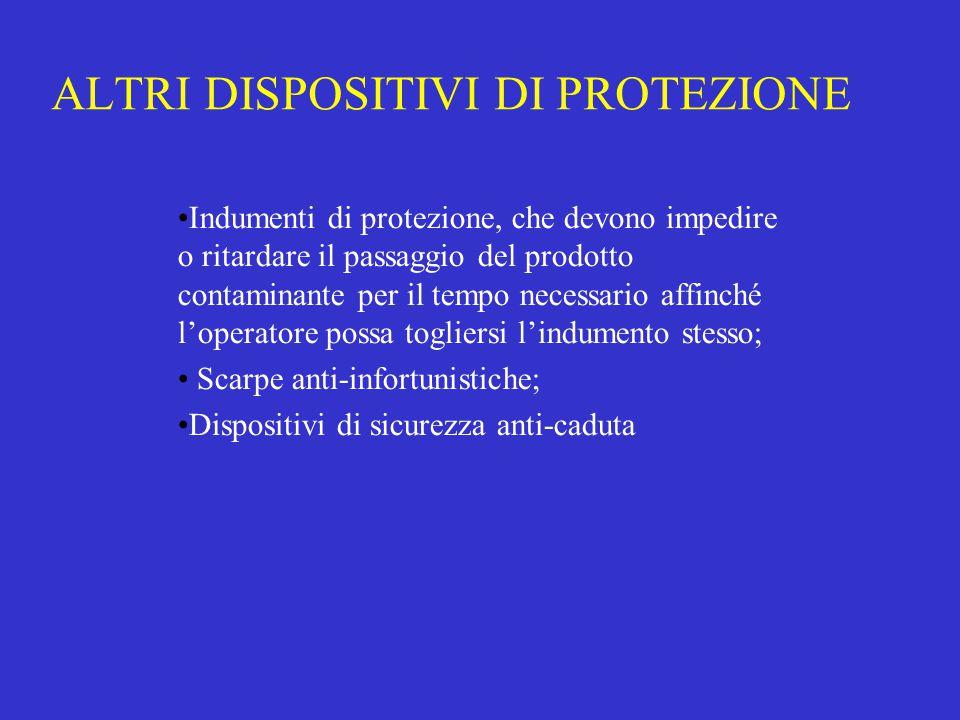 ALTRI DISPOSITIVI DI PROTEZIONE Indumenti di protezione, che devono impedire o ritardare il passaggio del prodotto contaminante per il tempo necessari