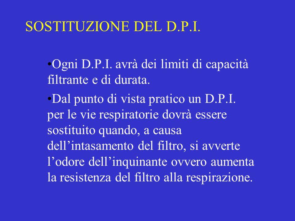 SOSTITUZIONE DEL D.P.I. Ogni D.P.I. avrà dei limiti di capacità filtrante e di durata. Dal punto di vista pratico un D.P.I. per le vie respiratorie do