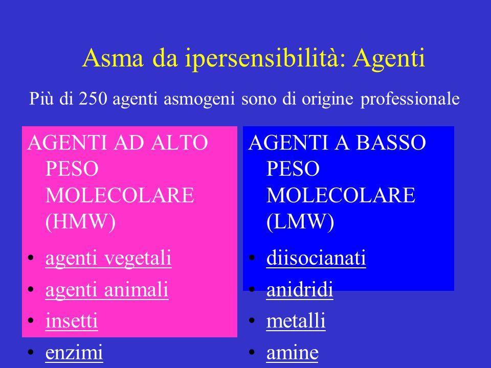 Asma da ipersensibilità: Agenti AGENTI AD ALTO PESO MOLECOLARE (HMW) agenti vegetali agenti animali insetti enzimi AGENTI A BASSO PESO MOLECOLARE (LMW