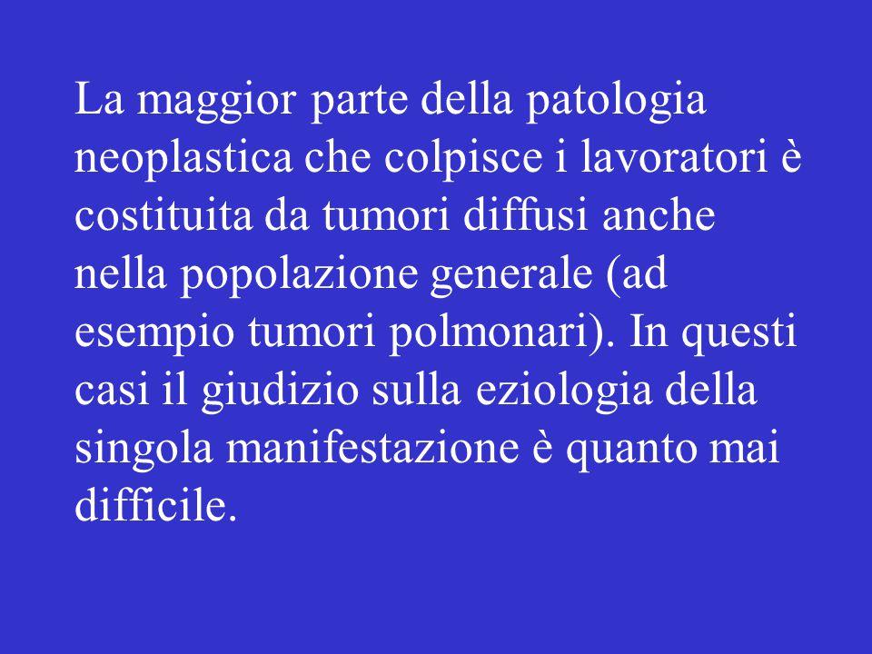 La maggior parte della patologia neoplastica che colpisce i lavoratori è costituita da tumori diffusi anche nella popolazione generale (ad esempio tum