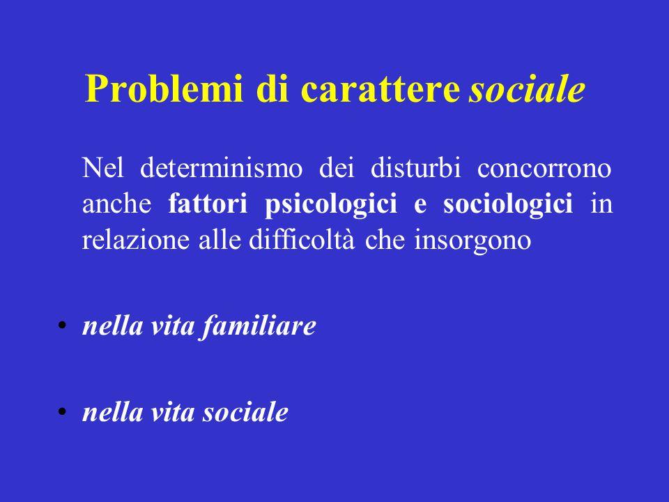 Problemi di carattere sociale Nel determinismo dei disturbi concorrono anche fattori psicologici e sociologici in relazione alle difficoltà che insorg