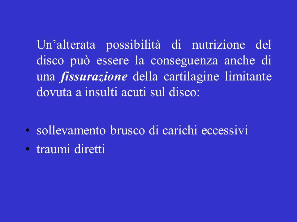 Un'alterata possibilità di nutrizione del disco può essere la conseguenza anche di una fissurazione della cartilagine limitante dovuta a insulti acuti