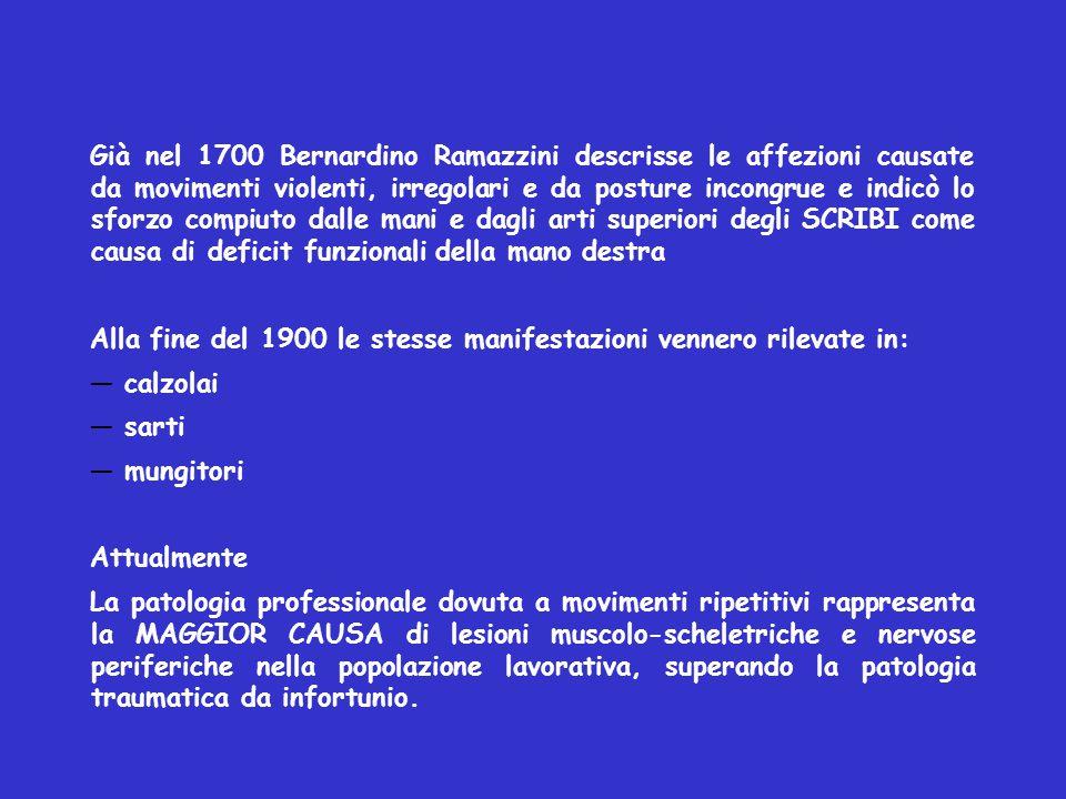 Già nel 1700 Bernardino Ramazzini descrisse le affezioni causate da movimenti violenti, irregolari e da posture incongrue e indicò lo sforzo compiuto