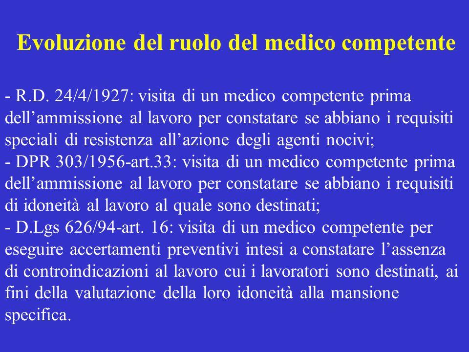 Evoluzione del ruolo del medico competente - R.D. 24/4/1927: visita di un medico competente prima dell'ammissione al lavoro per constatare se abbiano