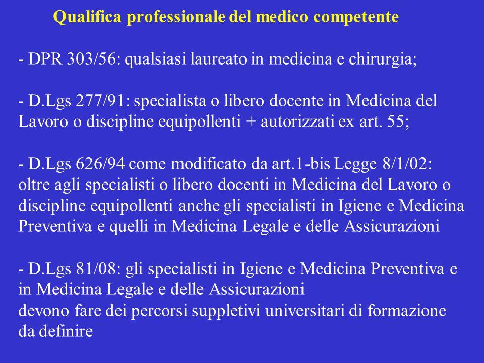 Qualifica professionale del medico competente - DPR 303/56: qualsiasi laureato in medicina e chirurgia; - D.Lgs 277/91: specialista o libero docente i