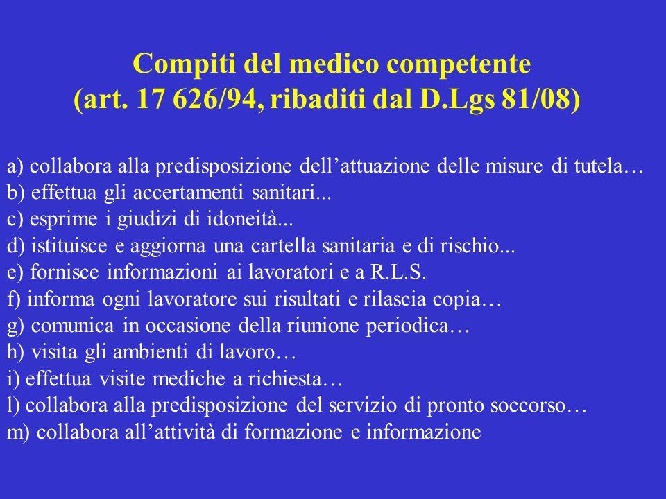Compiti del medico competente (art. 17 626/94, ribaditi dal D.Lgs 81/08) a) collabora alla predisposizione dell'attuazione delle misure di tutela… b)