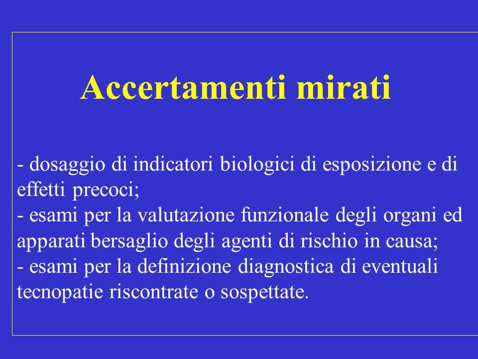 Accertamenti mirati - dosaggio di indicatori biologici di esposizione e di effetti precoci; - esami per la valutazione funzionale degli organi ed appa