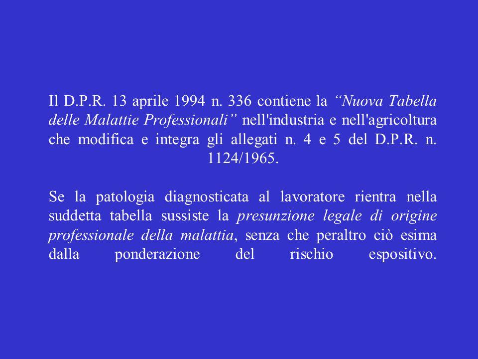 """Il D.P.R. 13 aprile 1994 n. 336 contiene la """"Nuova Tabella delle Malattie Professionali"""" nell'industria e nell'agricoltura che modifica e integra gli"""