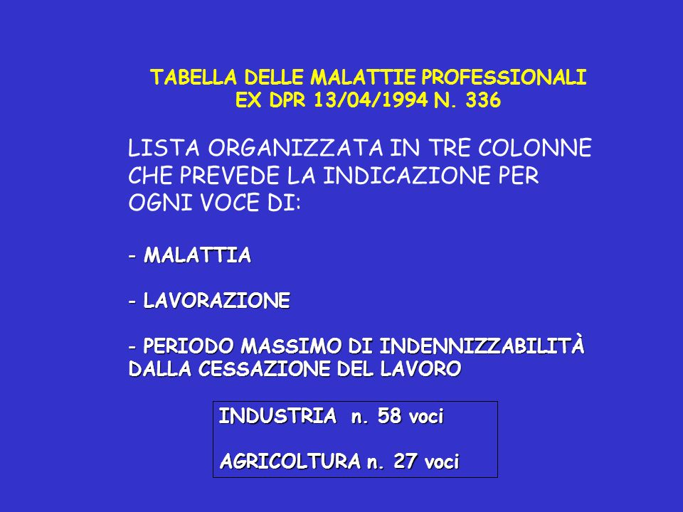 TABELLA DELLE MALATTIE PROFESSIONALI EX DPR 13/04/1994 N. 336 LISTA ORGANIZZATA IN TRE COLONNE CHE PREVEDE LA INDICAZIONE PER OGNI VOCE DI: - MALATTIA