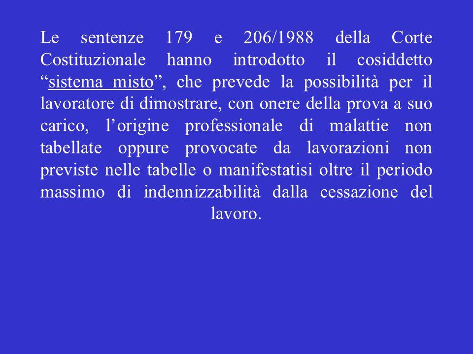 """Le sentenze 179 e 206/1988 della Corte Costituzionale hanno introdotto il cosiddetto """"sistema misto"""", che prevede la possibilità per il lavoratore di"""
