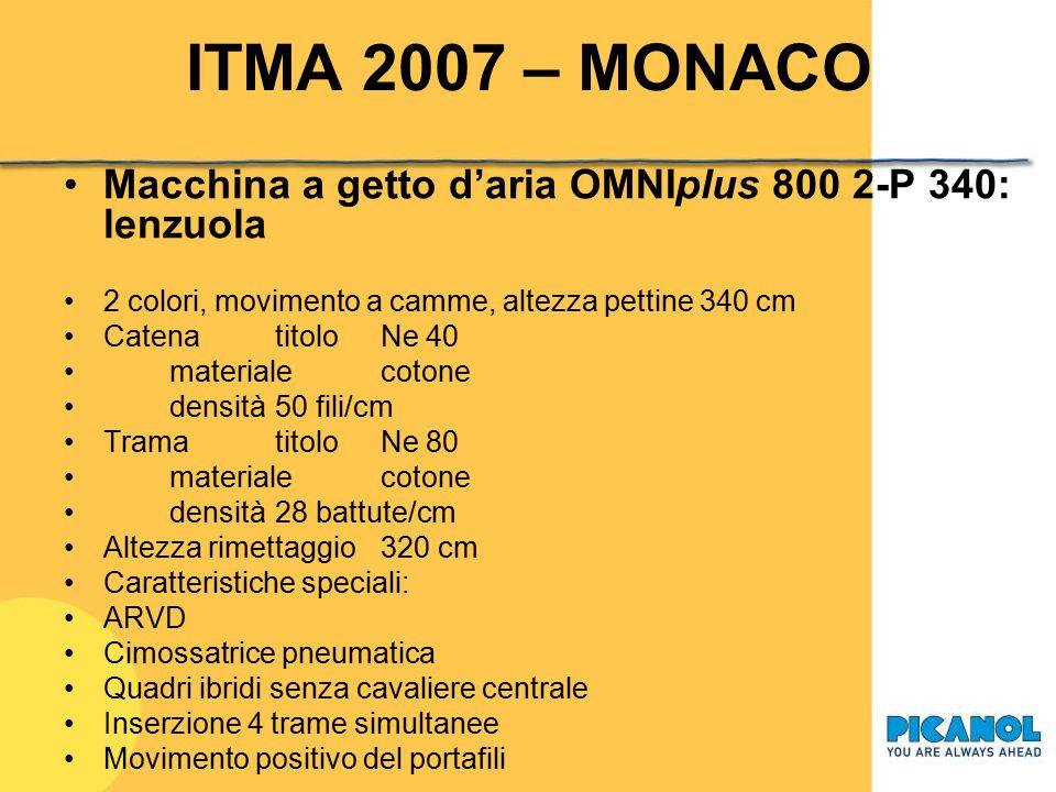 ITMA 2007 - MONACO Macchina a getto d'aria OMNIplus 800 4-R 220: tessuto per automotive 4 colori, ratiera, altezza pettine 220 cm Catenatitolodtex 540