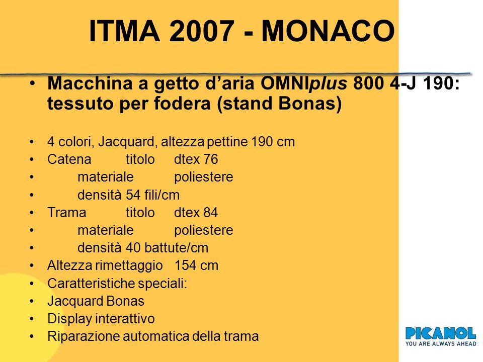 ITMA 2007 – MONACO Macchina a getto d'aria OMNIplus 800 2-P 340: lenzuola 2 colori, movimento a camme, altezza pettine 340 cm CatenatitoloNe 40 materi