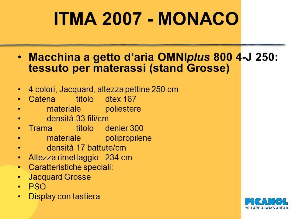 ITMA 2007 - MONACO Macchina a getto d'aria OMNIplus 800 4-J 190: tessuto per fodera (stand Bonas) 4 colori, Jacquard, altezza pettine 190 cm Catenatit