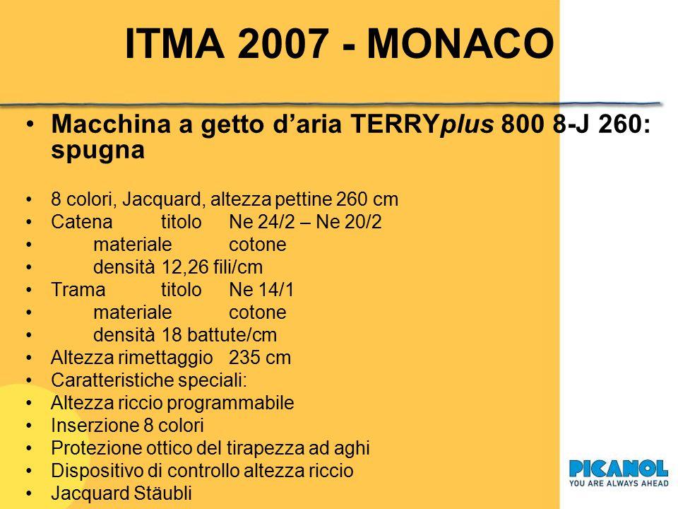 ITMA 2007 - MONACO Macchina a getto d'aria OMNIplus 800 4-J 250: tessuto per materassi (stand Grosse) 4 colori, Jacquard, altezza pettine 250 cm Caten