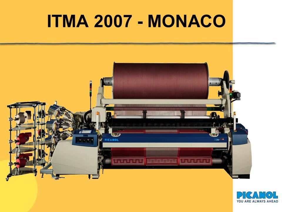 ITMA 2007 - MONACO Macchina a getto d'aria TERRYplus 800 8-J 260: spugna 8 colori, Jacquard, altezza pettine 260 cm Catenatitolo Ne 24/2 – Ne 20/2 mat