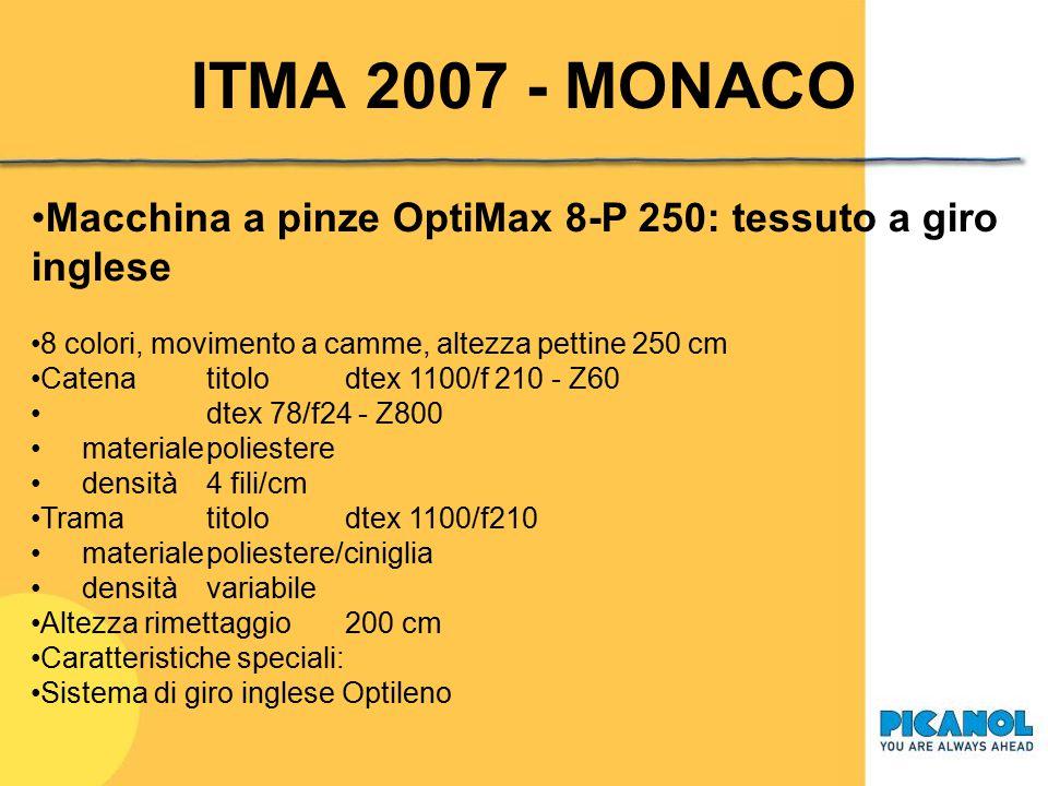 ITMA 2007 - MONACO Macchina a pinze OptiMax 4-P 460: tessuti tecnici per spalmatura 4 colori, movimento a camme, altezza pettine 460 cm Catenatitolodt