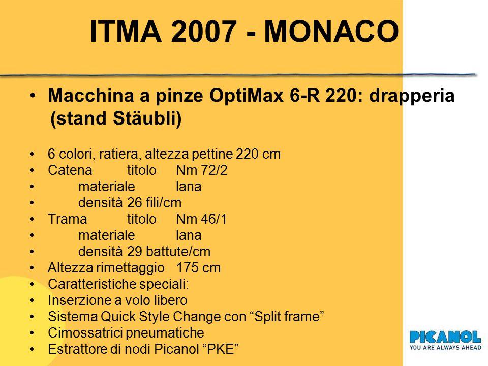 ITMA 2007 - MONACO Macchina a pinze OptiMax 8-P 250: tessuto a giro inglese 8 colori, movimento a camme, altezza pettine 250 cm Catena titolo dtex 1100/f 210 - Z60 dtex 78/f24 - Z800 materialepoliestere densità 4 fili/cm Trama titolodtex 1100/f210 materialepoliestere/ciniglia densità variabile Altezza rimettaggio 200 cm Caratteristiche speciali: Sistema di giro inglese Optileno