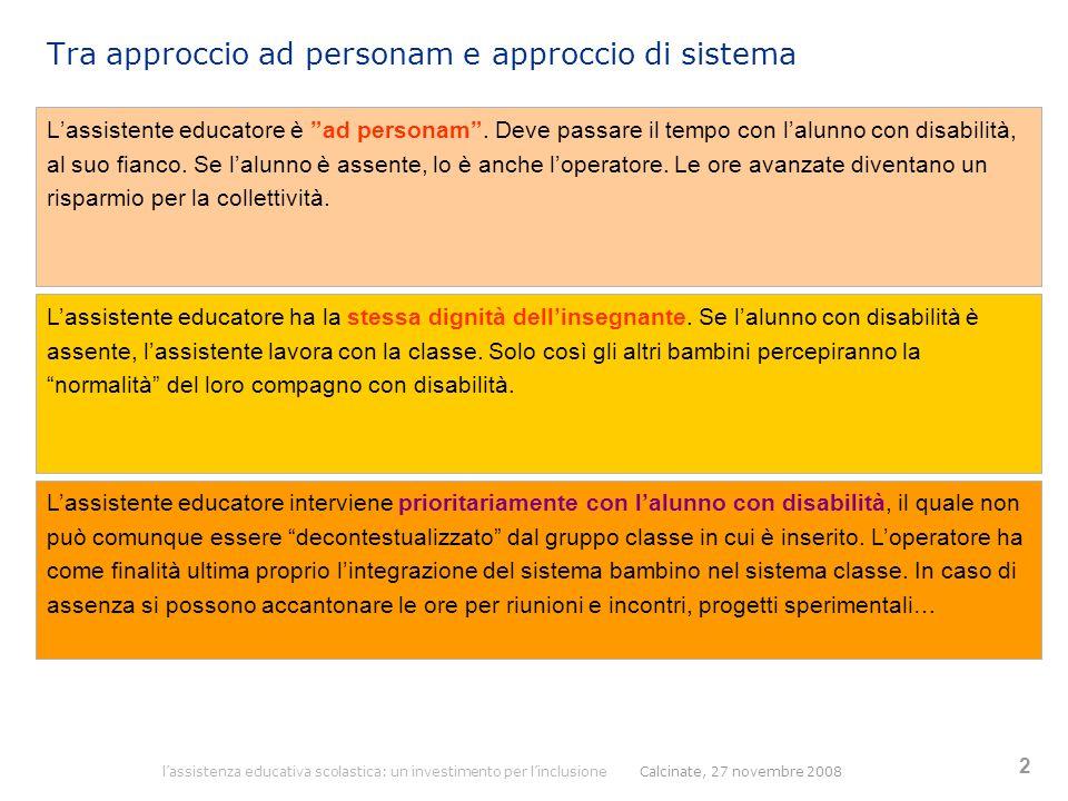 """2 Tra approccio ad personam e approccio di sistema L'assistente educatore è """"ad personam"""". Deve passare il tempo con l'alunno con disabilità, al suo f"""