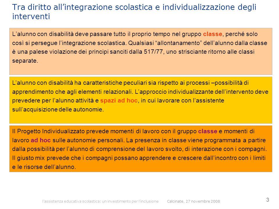 l'assistenza educativa scolastica: un investimento per l'inclusione Calcinate, 27 novembre 2008 3 Tra diritto all'integrazione scolastica e individual