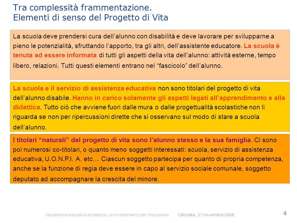 l'assistenza educativa scolastica: un investimento per l'inclusione Calcinate, 27 novembre 2008 4 Tra complessità frammentazione. Elementi di senso de