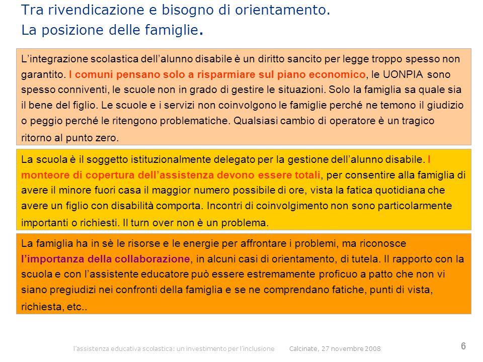 l'assistenza educativa scolastica: un investimento per l'inclusione Calcinate, 27 novembre 2008 6 Tra rivendicazione e bisogno di orientamento. La pos