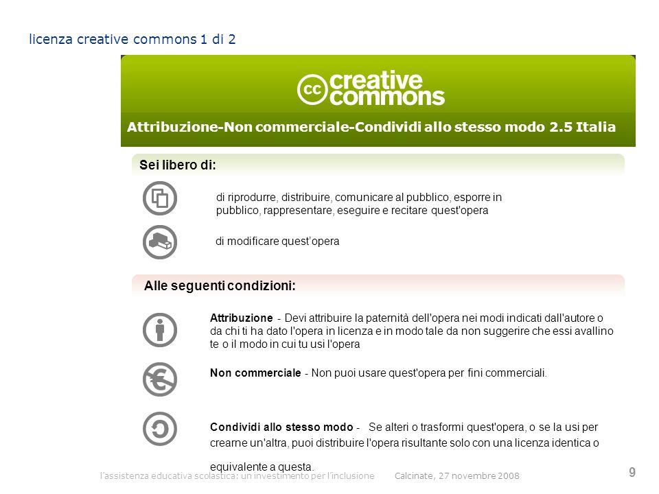l'assistenza educativa scolastica: un investimento per l'inclusione Calcinate, 27 novembre 2008 9 licenza creative commons 1 di 2 Sei libero di: di ri