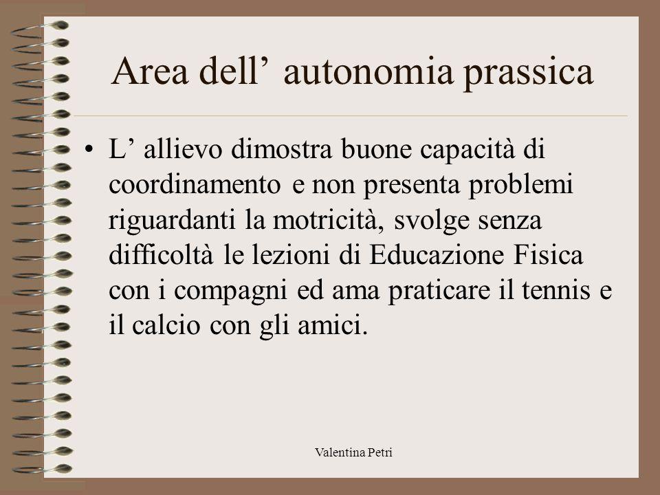 Valentina Petri Area dell' autonomia L' autonomia personale è legata all' età.