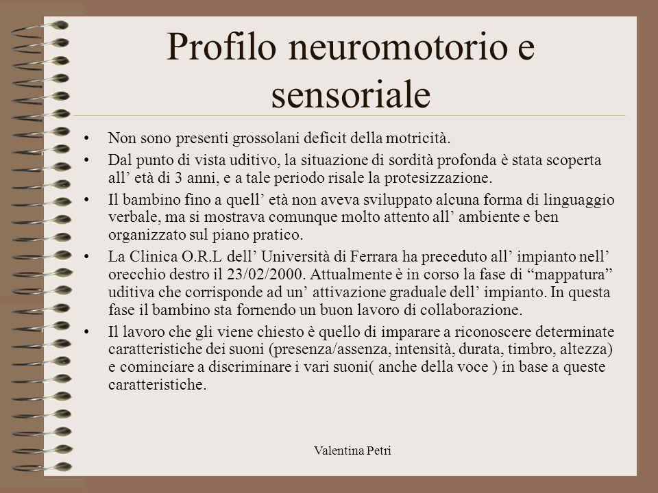 Valentina Petri Profilo linguistico comunicativo Per quanto riguarda gli aspetti fonatori, l' intervento di impianto ha sicuramente fatto si che vi fosse un miglioramento della qualità della voce.