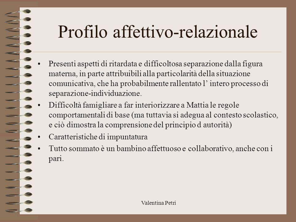 Valentina Petri Sintesi ed indicazioni Si ritiene che programmi di Mattia debbano essere quelli standars, con alcuni accorgimenti volti a favorire lo sviluppo delle competenze espressive.