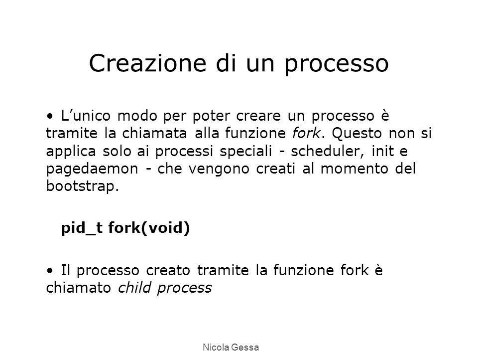 Nicola Gessa Creazione di un processo L'unico modo per poter creare un processo è tramite la chiamata alla funzione fork.
