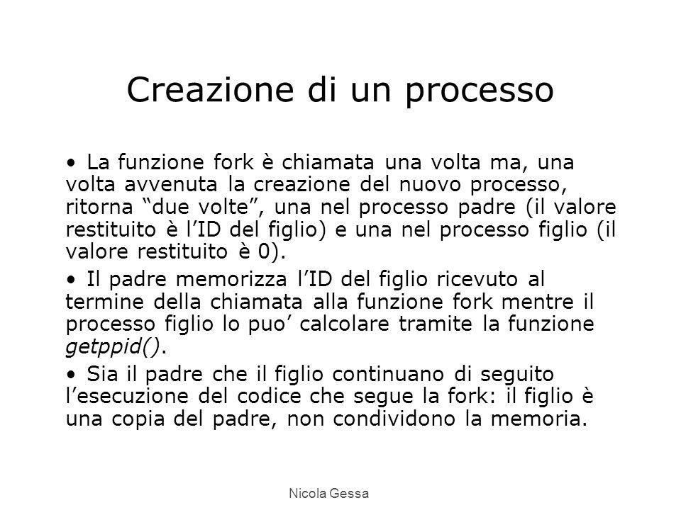 Nicola Gessa Creazione di un processo La funzione fork è chiamata una volta ma, una volta avvenuta la creazione del nuovo processo, ritorna due volte , una nel processo padre (il valore restituito è l'ID del figlio) e una nel processo figlio (il valore restituito è 0).