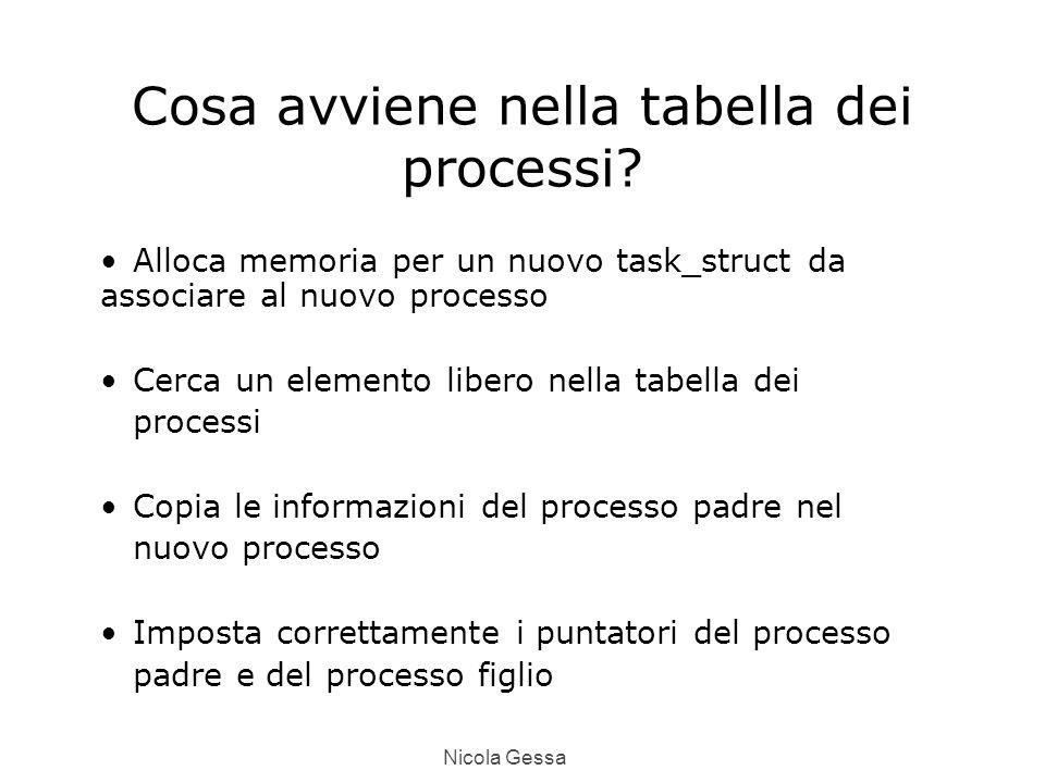Nicola Gessa Cosa avviene nella tabella dei processi.