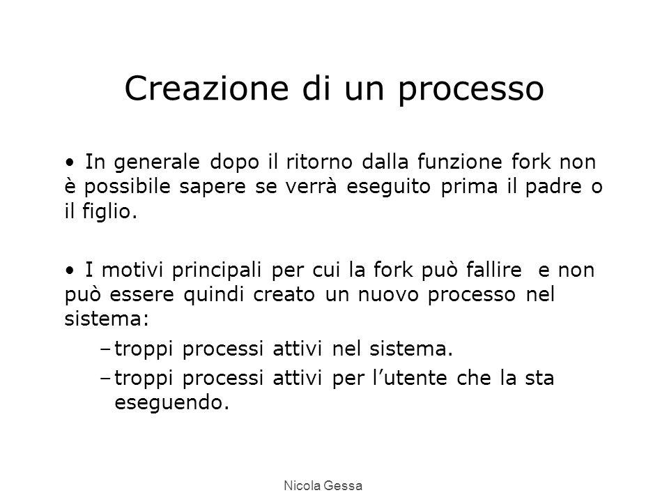 Nicola Gessa Creazione di un processo In generale dopo il ritorno dalla funzione fork non è possibile sapere se verrà eseguito prima il padre o il figlio.