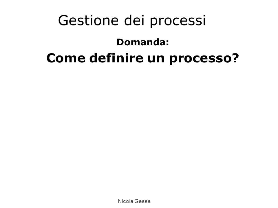Nicola Gessa Gestione dei processi Domanda: Come definire un processo