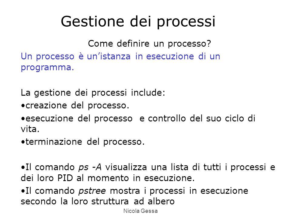 Nicola Gessa Gestione dei processi Come definire un processo.