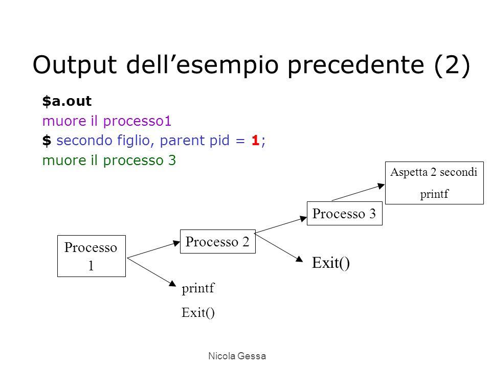 Nicola Gessa Output dell'esempio precedente (2) $a.out muore il processo1 $ secondo figlio, parent pid = 1; muore il processo 3 Processo 1 Processo 2 Processo 3 printf Exit() Aspetta 2 secondi printf
