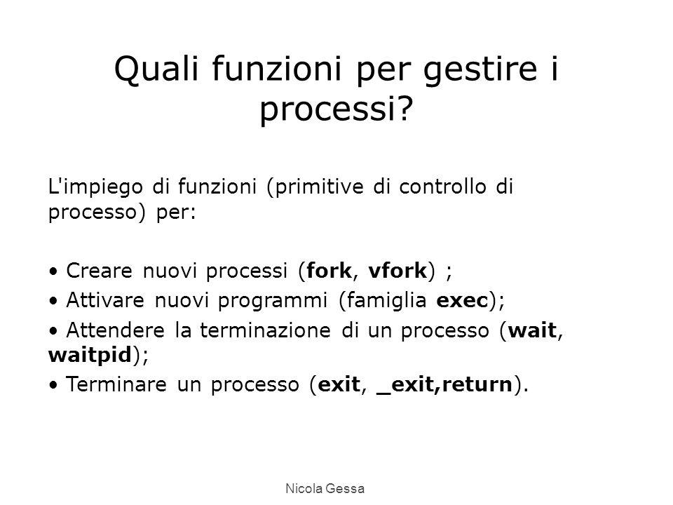 Nicola Gessa Quali funzioni per gestire i processi.