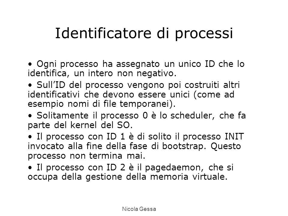 Nicola Gessa Identificatore di processi Ogni processo ha assegnato un unico ID che lo identifica, un intero non negativo.