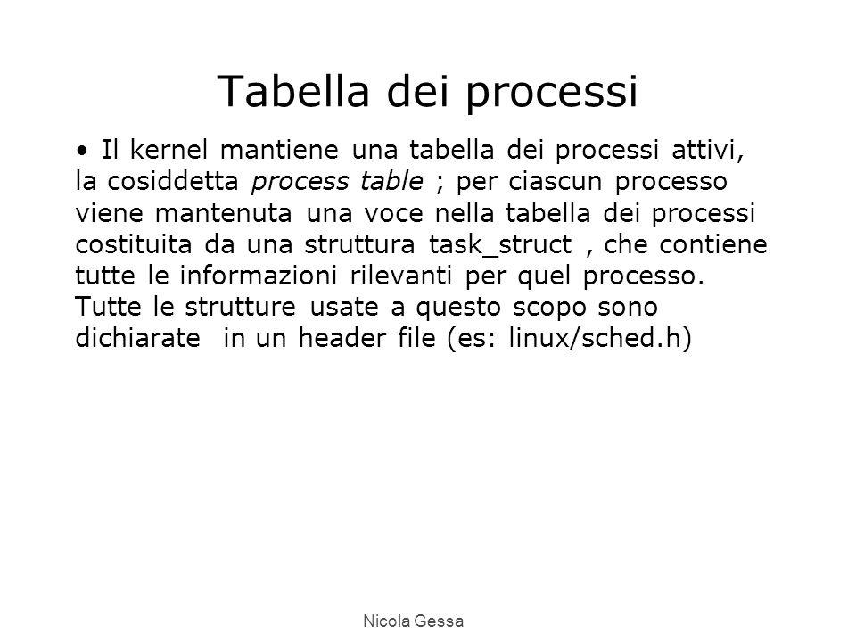 Nicola Gessa Tabella dei processi Il kernel mantiene una tabella dei processi attivi, la cosiddetta process table ; per ciascun processo viene mantenuta una voce nella tabella dei processi costituita da una struttura task_struct, che contiene tutte le informazioni rilevanti per quel processo.