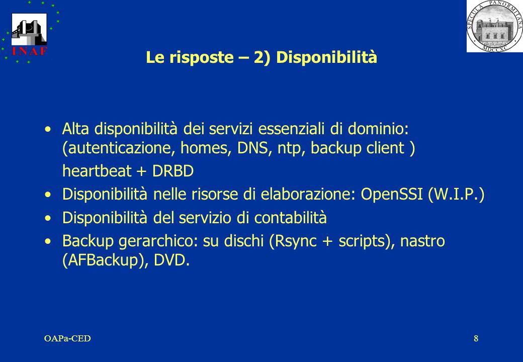 OAPa-CED8 Le risposte – 2) Disponibilità Alta disponibilità dei servizi essenziali di dominio: (autenticazione, homes, DNS, ntp, backup client ) heartbeat + DRBD Disponibilità nelle risorse di elaborazione: OpenSSI (W.I.P.) Disponibilità del servizio di contabilità Backup gerarchico: su dischi (Rsync + scripts), nastro (AFBackup), DVD.