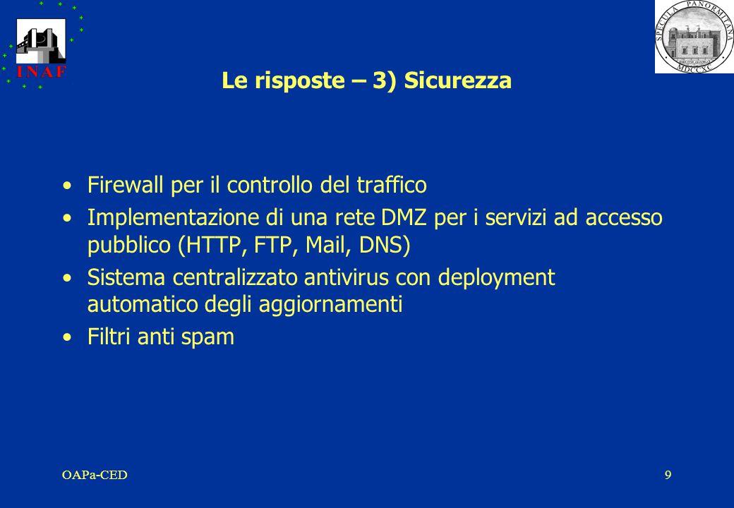 OAPa-CED9 Le risposte – 3) Sicurezza Firewall per il controllo del traffico Implementazione di una rete DMZ per i servizi ad accesso pubblico (HTTP, FTP, Mail, DNS) Sistema centralizzato antivirus con deployment automatico degli aggiornamenti Filtri anti spam