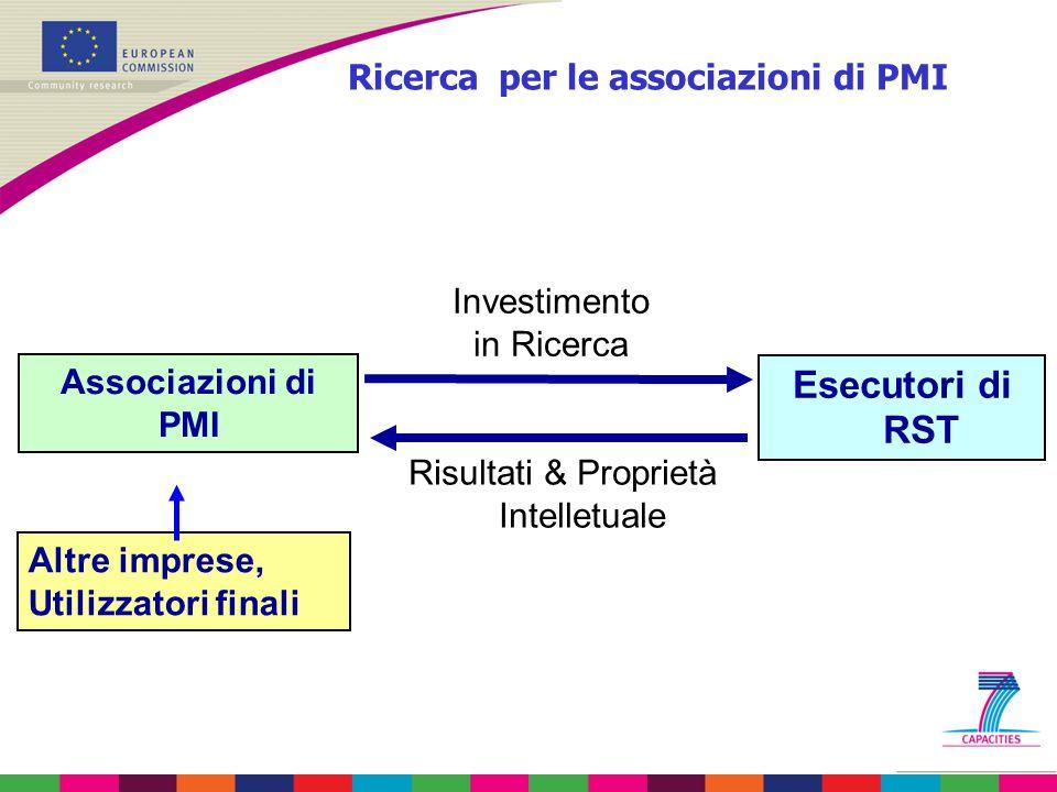 Associazioni di PMI Esecutori di RST Investimento in Ricerca Risultati & Proprietà Intelletuale Altre imprese, Utilizzatori finali Ricerca per le asso
