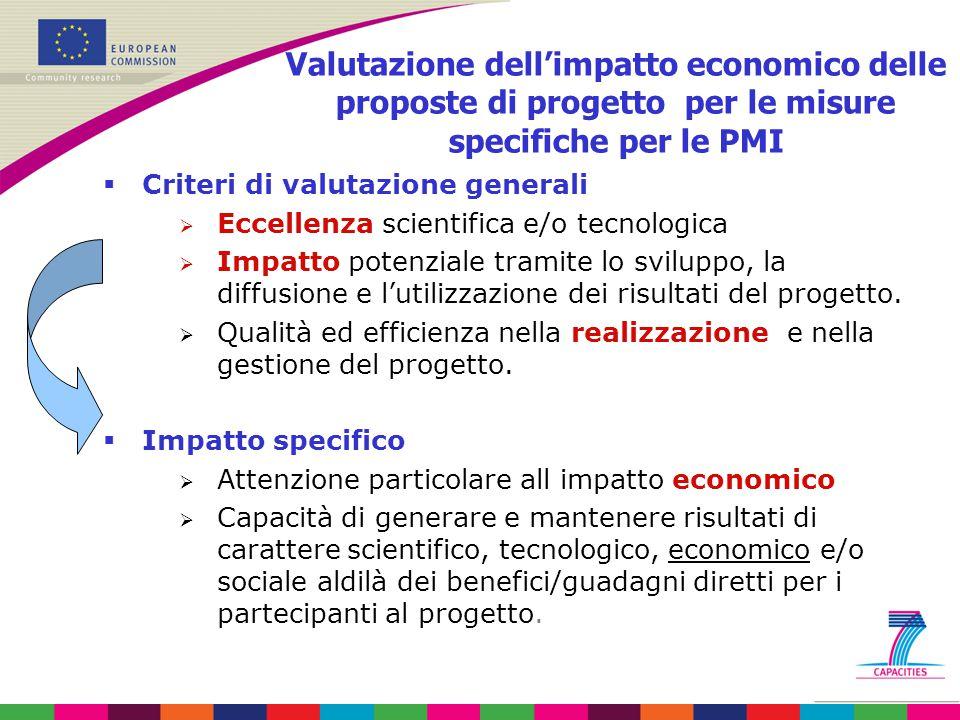 Valutazione dell'impatto economico delle proposte di progetto per le misure specifiche per le PMI  Criteri di valutazione generali  Eccellenza scientifica e/o tecnologica  Impatto potenziale tramite lo sviluppo, la diffusione e l'utilizzazione dei risultati del progetto.