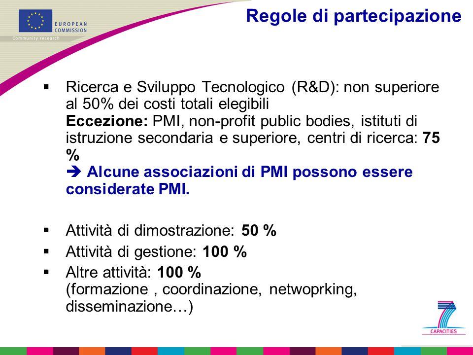 Regole di partecipazione  Ricerca e Sviluppo Tecnologico (R&D): non superiore al 50% dei costi totali elegibili Eccezione: PMI, non-profit public bod