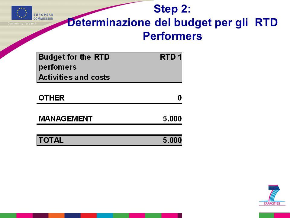 Step 2: Determinazione del budget per gli RTD Performers