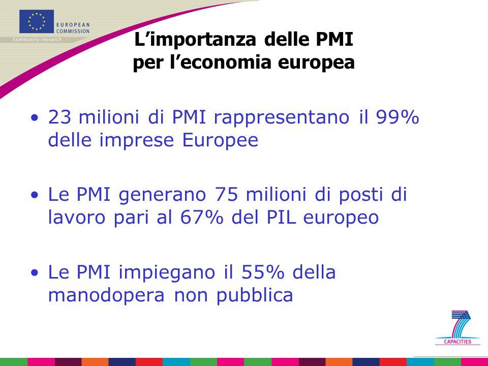 L'importanza delle PMI per l'economia europea 23 milioni di PMI rappresentano il 99% delle imprese Europee Le PMI generano 75 milioni di posti di lavo