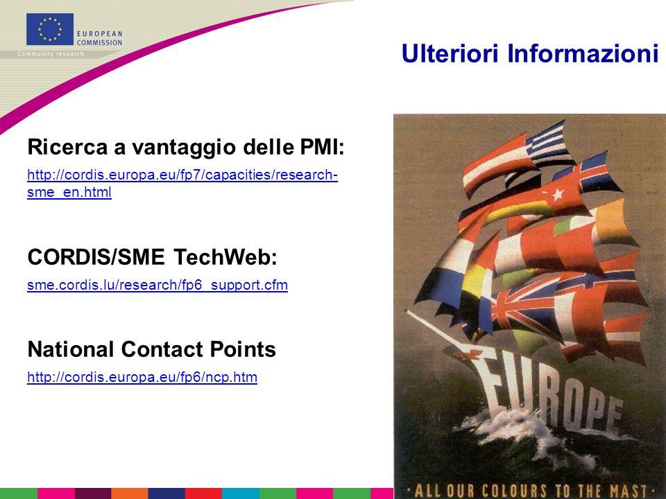 Ulteriori Informazioni Ricerca a vantaggio delle PMI: http://cordis.europa.eu/fp7/capacities/research- sme_en.html CORDIS/SME TechWeb: sme.cordis.lu/r