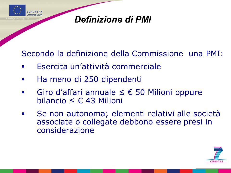 Secondo la definizione della Commissione una PMI:  Esercita un'attività commerciale  Ha meno di 250 dipendenti  Giro d'affari annuale ≤ € 50 Milion