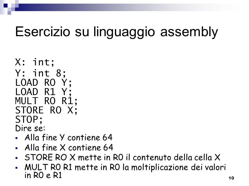 10 Esercizio su linguaggio assembly X: int; Y: int 8; LOAD RO Y; LOAD R1 Y; MULT RO R1; STORE RO X; STOP; Dire se:  Alla fine Y contiene 64  Alla fi